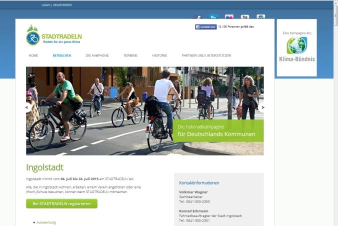 Internetseite der Aktion STADTRADELN