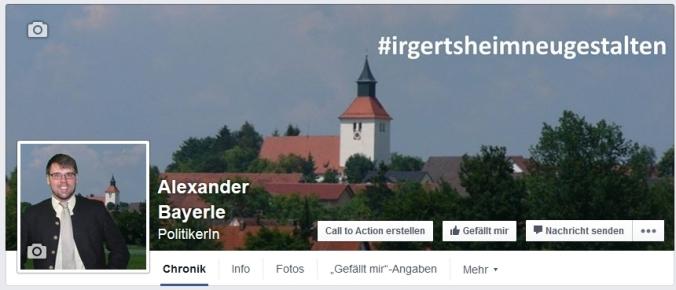 Screenshot der neuen Facebookseite