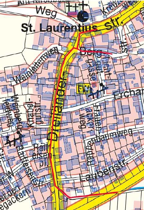 Die rote Linie markiert den Verlauf des Regenwasserkanals, der ab März saniert wird (Foto/Karte: IN-KB AöR)