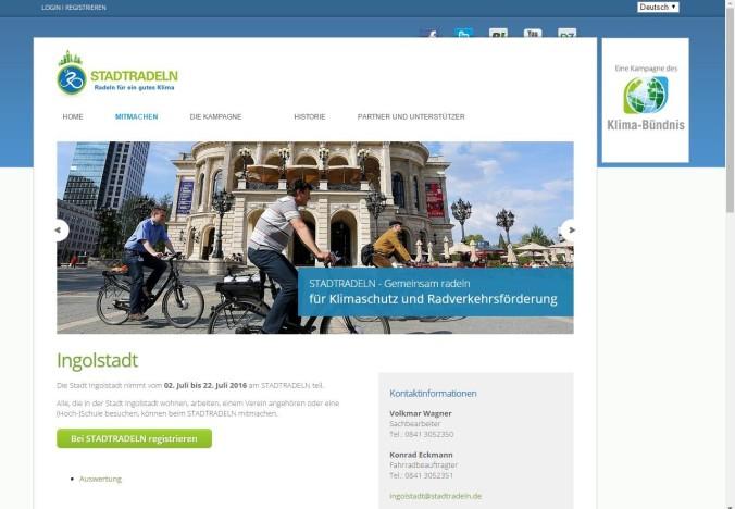 Internetseite der Aktion STADTRADELN 2016